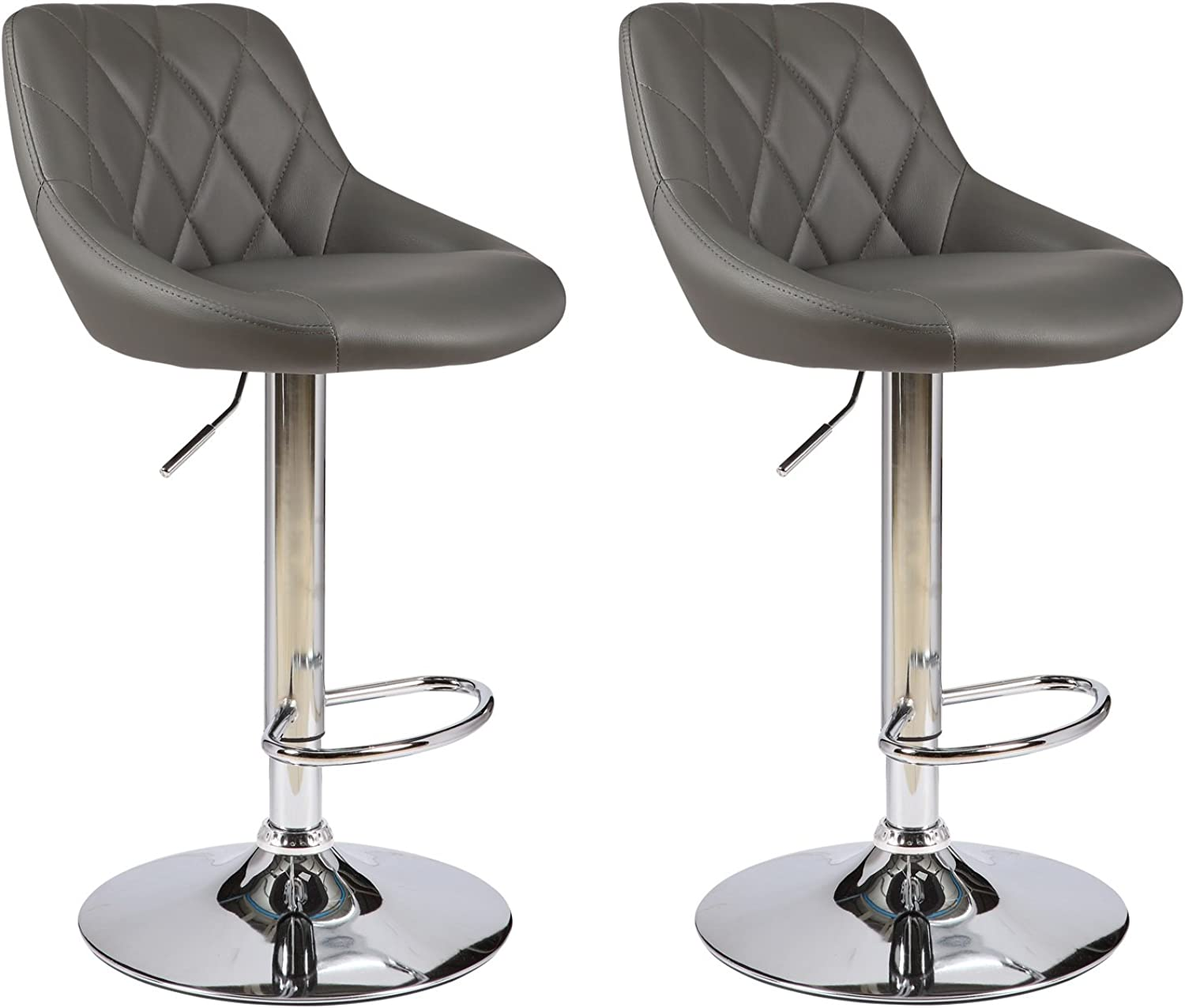 ViscoLogic Series Gallant Height Adjustable Leatherette Diamond Quilted 360 Swivel 22 to 31 inch Bar Stool with Chrome Pole & Base, Base with Hard Plastic for Floor Predection (Set of 2 Stools- Grey)