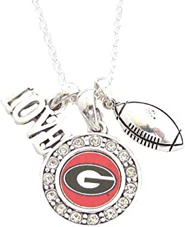 Georgia Bulldogs UGA Multi Charm Love Football Red Necklace Jewelry