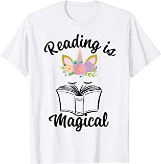 Reading is Magical T-Shirt Unicorn Face Book Lover Gift