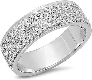 1.00 Carat (ctw) 10K Gold Round Cut White Diamond Men's Bridal Micro Pave Wedding Band 1 CT