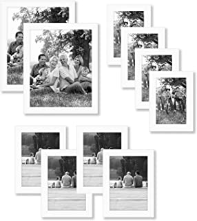 Americanflat 10 Piece White Picture Frame Set in Sizes 8x10, 5x7, and 4x6 - Composite Wood with Polished Glass - Horizonta...