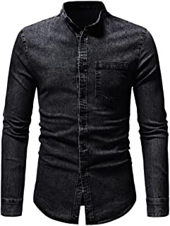 GREFER Men's Autumn Winter Coat Vintage Distressed Solid Denim Long Sleeve T-Shirt Tops with Pocket