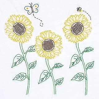 Jack Dempsey Needle Art 732704 Sunflowers Hand Embroidery, White