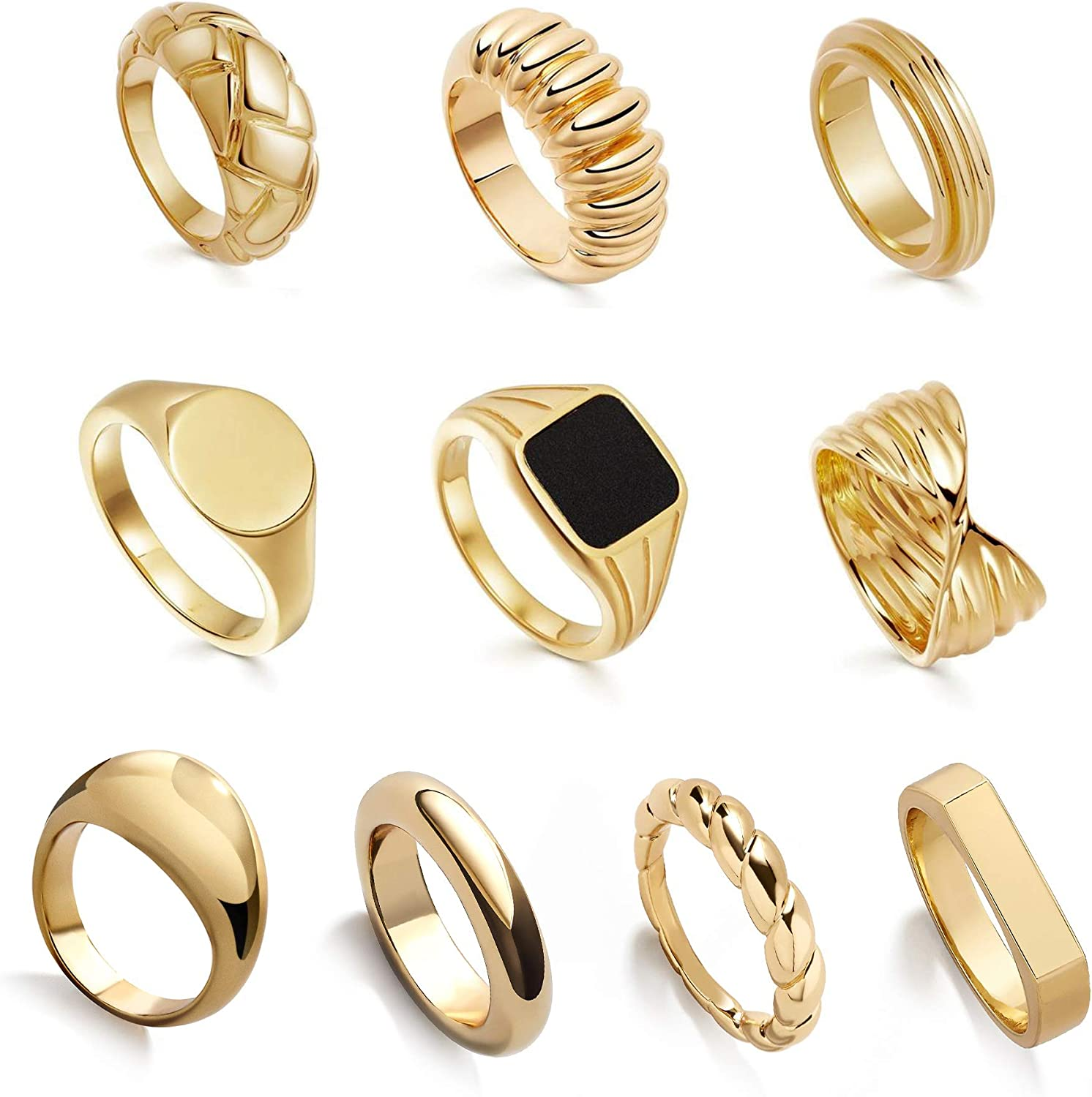 SLOONG 10pcs Y2K Style Chunky Dome Ring Set 14k Gold Plated Ring Croissant Braided Twisted Signet Ring Stacking Band Ring Trendy Signet Ring Statement Jewelry for Women Men