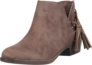 Rampage Women's TIAAN Cut Out Ankle Bootie with Decorative Side Tassle Boot, Taupe Fabric, 7.5 M US