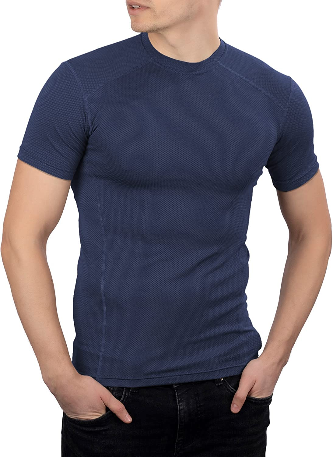 281Z Mens Tactical Moisture Wicking T-Shirt - Hiking Training Outdoor - Active Athletic Workout - Polartec Delta (Navy Blue)