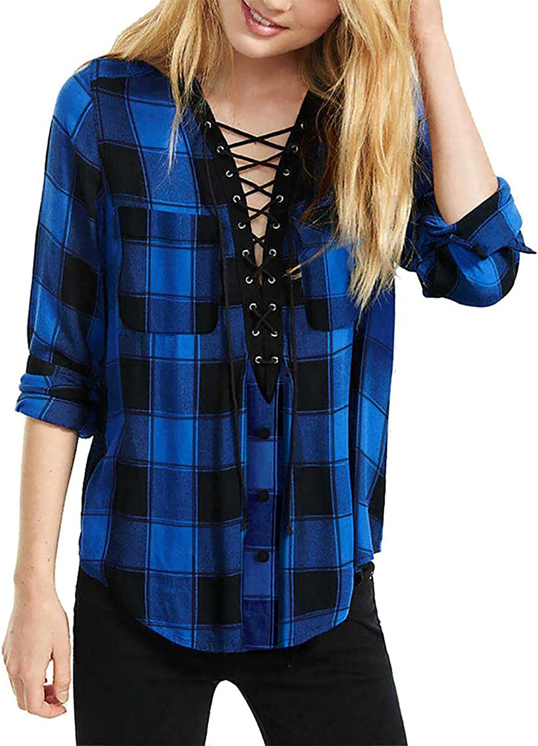 Women Casual V Neck Comfy Blouse Ladies Plaid Long Sleeve Shirt Loose Button Down Tops with Pockets