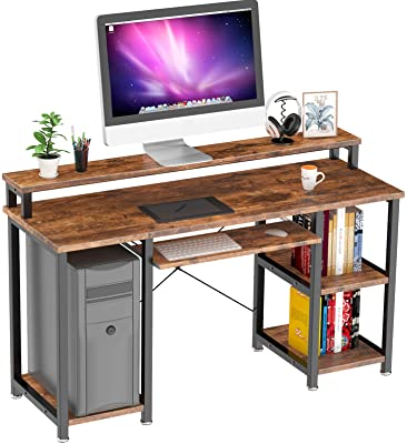 "NOBLEWELL Computer Desk with Monitor Stand Storage Shelves Keyboard Tray,47"" Studying Writing Table for Home Office (Rustic Brown)…"