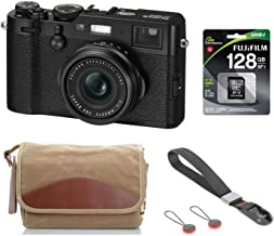 $1109 » Fujifilm X100F 24.3 MP APS-C Digital Camera - Black, Bundle Kit with Fujifilm F-5XB Shoulder & Belt Canvas Camera Bag + 128GB SD Card + Peak Design Camera Cuff Wrist Strap