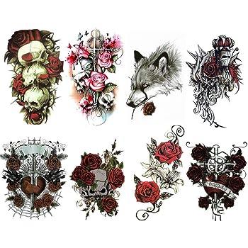 8 Tatouages Temporaires Pour Femme Ou Homme Motif Fleurs Rose Tattoo Ephemere Couleur De Grande Taille Romantique Gothique Sexy Rebelle Et Glamour Amazon Fr Jeux Et Jouets