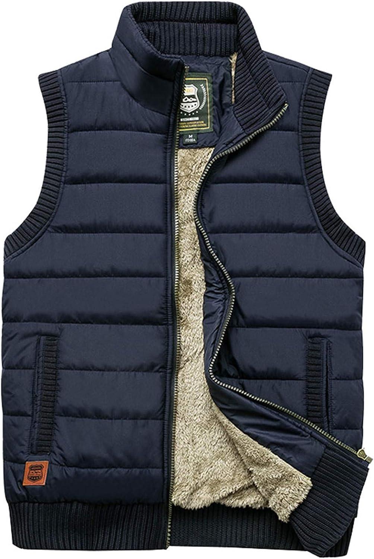 EQKWJ Mens Vests Sleeveless Jacket Casual Loose Warm Men Waistcoat Multi-Pocket Coats