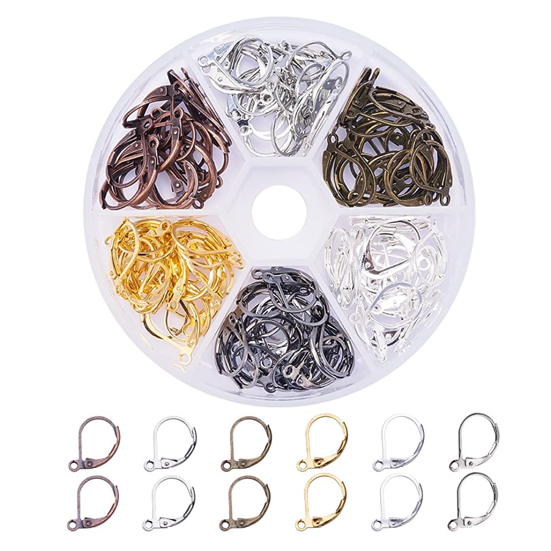 PandaHall Elite 120 Pcs Brass Lever Back Earring French Hook Ear Wire with Open Loop 15X10mm for Jewelry Making 6 Colors