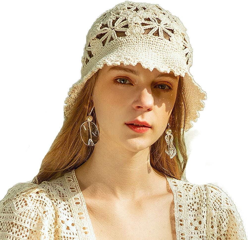 F FADVES Womens Floppy Panama Hat Church Cloche Fedora Lace Bowler Hat Foldable Wide Brim Beach Sunhats