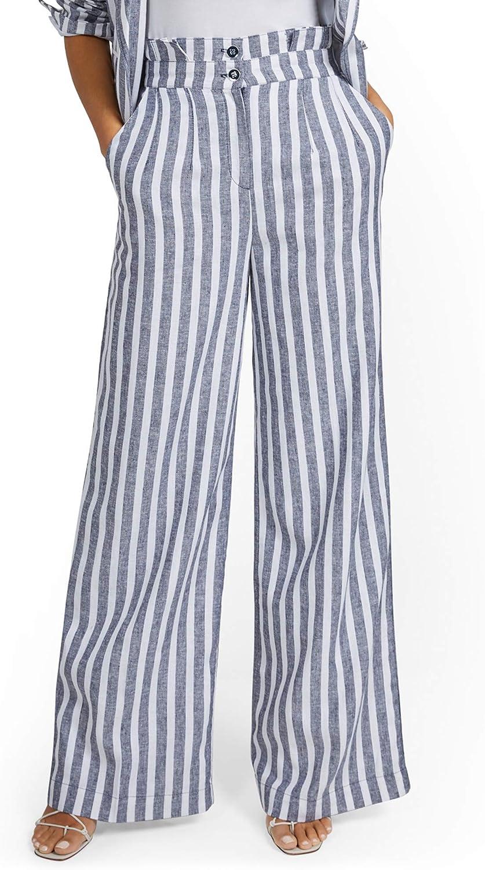 New York & Co. Women's Linen-Blend Nautical Stripe Paperbag Wide-Leg Pant