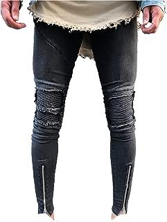 LOSIBUDSA Men's Skinny Slim Fit Straight Ripped Destroyed Distressed Zipper Stretch Knee Patch Denim Pants Jeans