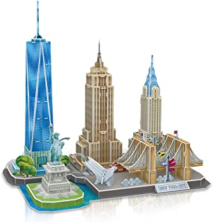 Cubicfun 3D Puzzles Skyline New York Architecture Building Model Kits, Statue of Liberty, Empire State Building, Brooklyn Bridge, Chrysler Building 3D Puzzles for Adults and Children, 123 Pieces