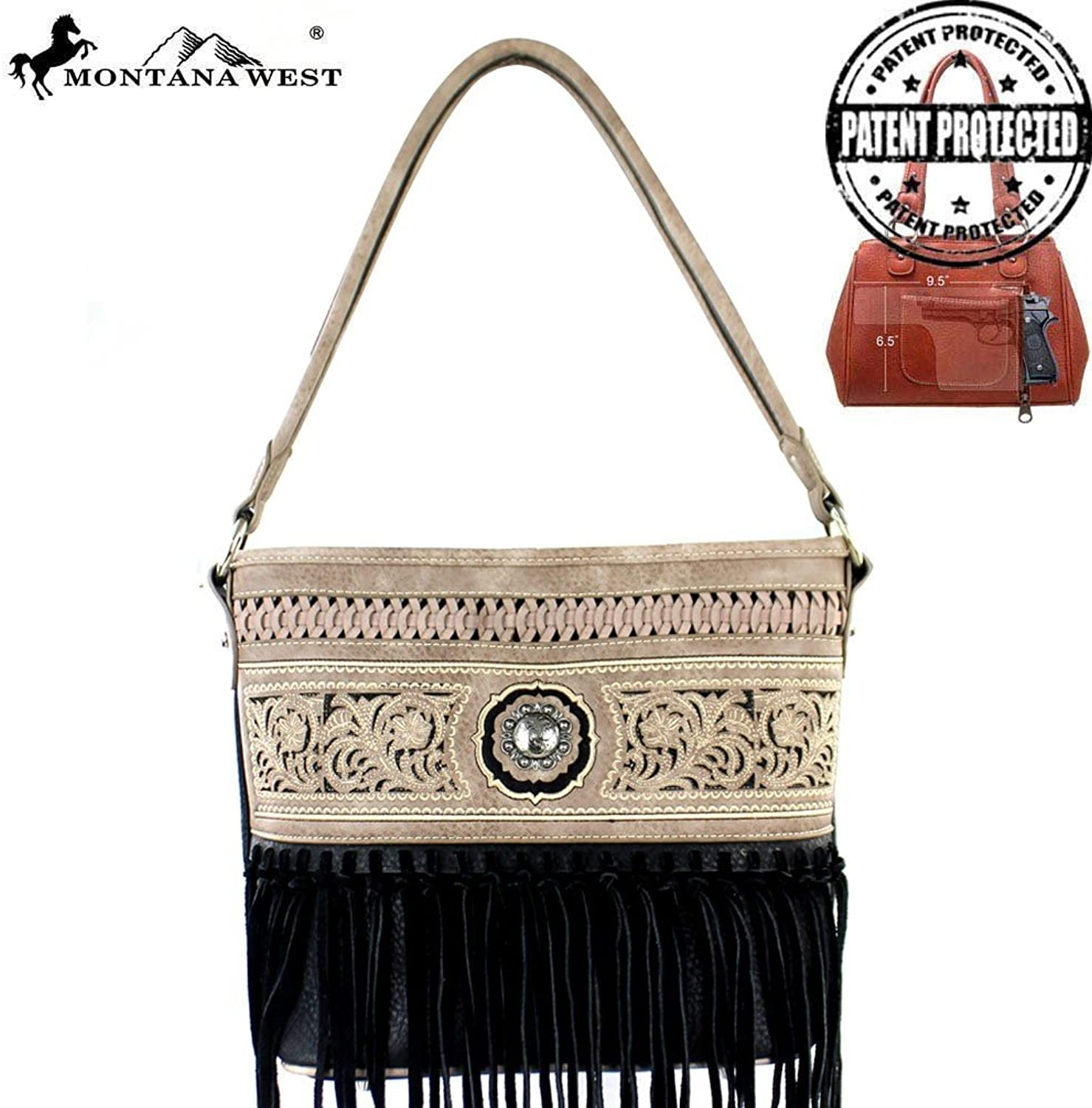 MW352G916 Montana West Fringe Collection Concealed Handgun Hobo BagBrown