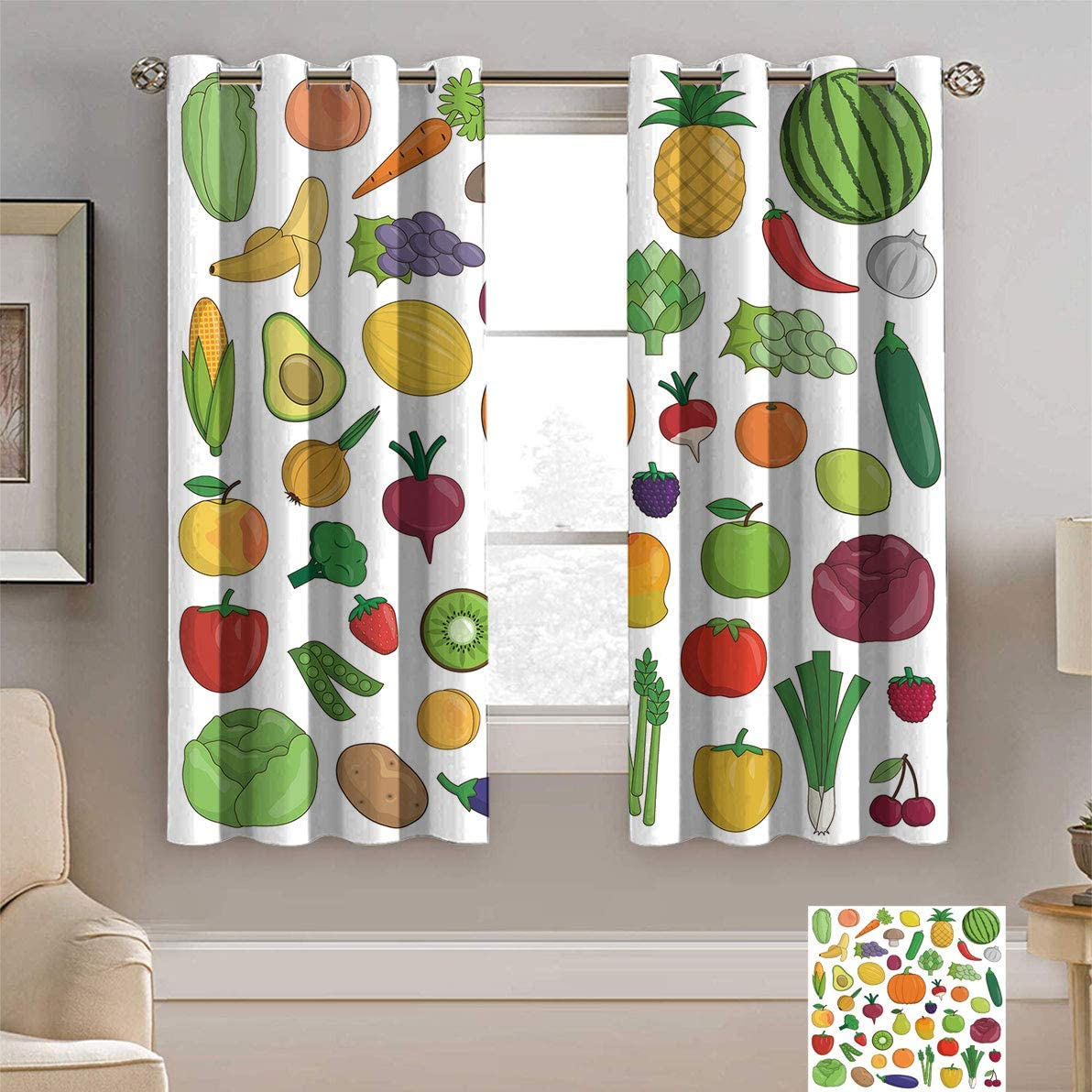 Alexdemo Fruit Decor 年間定番 Thermal Insulated Curtain 新着セール of Fr Collection