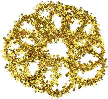 d/ünne Str/änge 2m Lametta Girlande mit Sternen Gold Christbaumschmuck