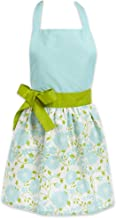 DII Women's Adjustable Cooking Apron Dress with Extra Long Ties, 31 x 28, - Aqua Daisy
