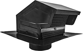 "Builder`s Best 012635 Galvanized Steel Roof Vent Cap with Removable Screen & Damper, 4"" Diameter Collar, Black"