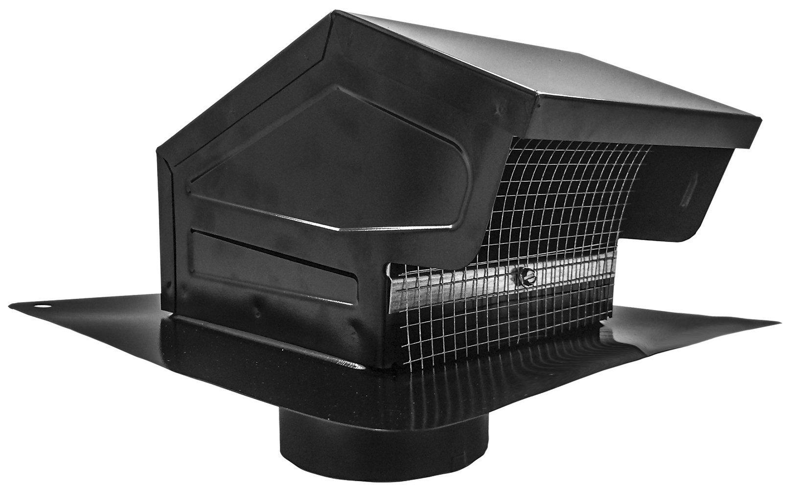 Amazon Com Builder S Best 084635 Galvanized Steel Roof Vent Cap With Removable Screen Damper 4 Diameter Collar Black Home Improvement