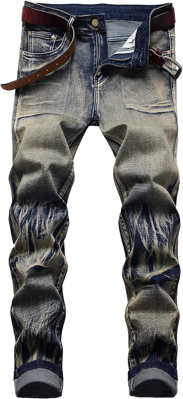 Huangse Mens Novelty Print Straight Style Standard Fit Full Length Jeans Summer Trousers Slim Fit Denim Jeans