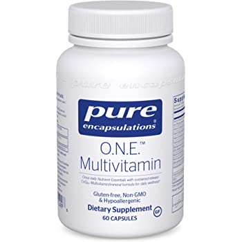 Pure Encapsulations - O.N.E. Multivitamin - Once Daily Nutrient Essentials with Metafolin L-5-MTHF and Sustained Release CoQ10 - Hypoallergenic Dietary Supplement - 60 Capsules
