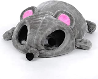 mosuie Cat Bed Grey Mouse Shape Small Cats Dogs Cave Bed Removable Cushion,Waterproof Bottom House Gift for Pet Fiber