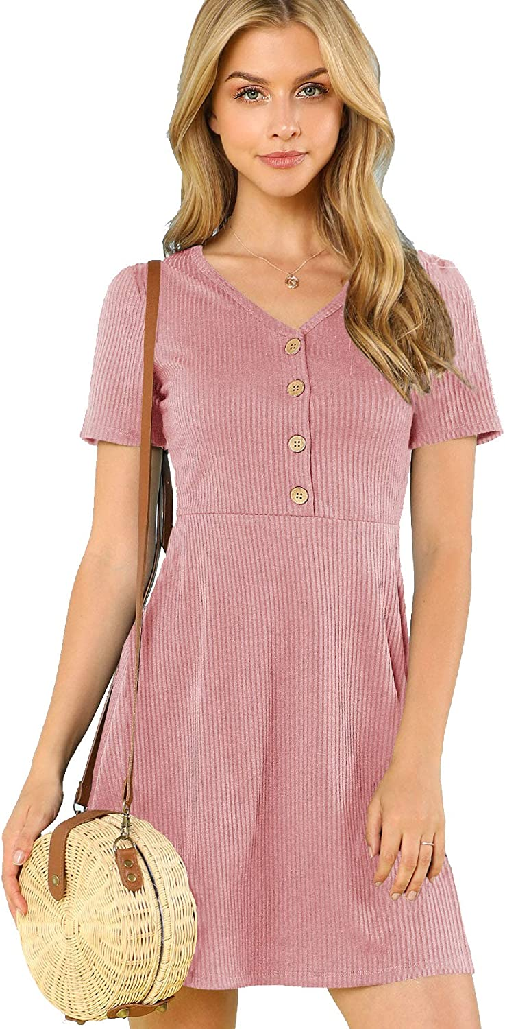 Milumia Women's Button Up Ribbed Knit Dress V Neck Short Sleeve Casual Summer Dress