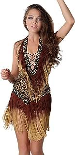 MISI CHAO Latin Dance Dresses - Fringe Ballroom Dance Skirt Lyrical Tassel Sequin Dress for Women