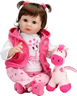 Aori Reborn Baby Dolls 22 Inch Realistic Lifelike Baby Girl Doll with Pink Clothes and Deer Toy Accessories