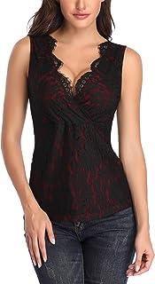 Mujer Camiseta de Tirantes con Cuello en V Camisas Blusas Encaje