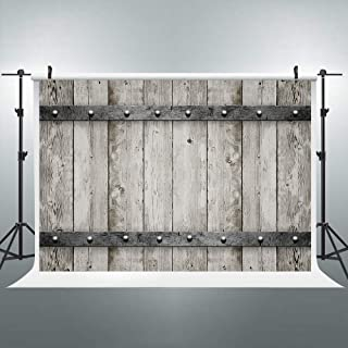 Riyidecor Wooden Barn Door Backdrop Antique Gray Wood Shabby Chic Vintage 7x5 Feet Western Country Photography Backgrounds Photo Shoot Party Decor Props Vinyl