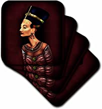 3dRose CST_15330_4 A Portrait of Nefertiti Inspired by The Ancient Egyptian Artifact-Ceramic Tile Coasters, Set of 8