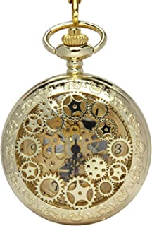 Retro Pocket Watch for Mens Wooden Open face Steampunk Skeleton Mechanical with Chain + Box