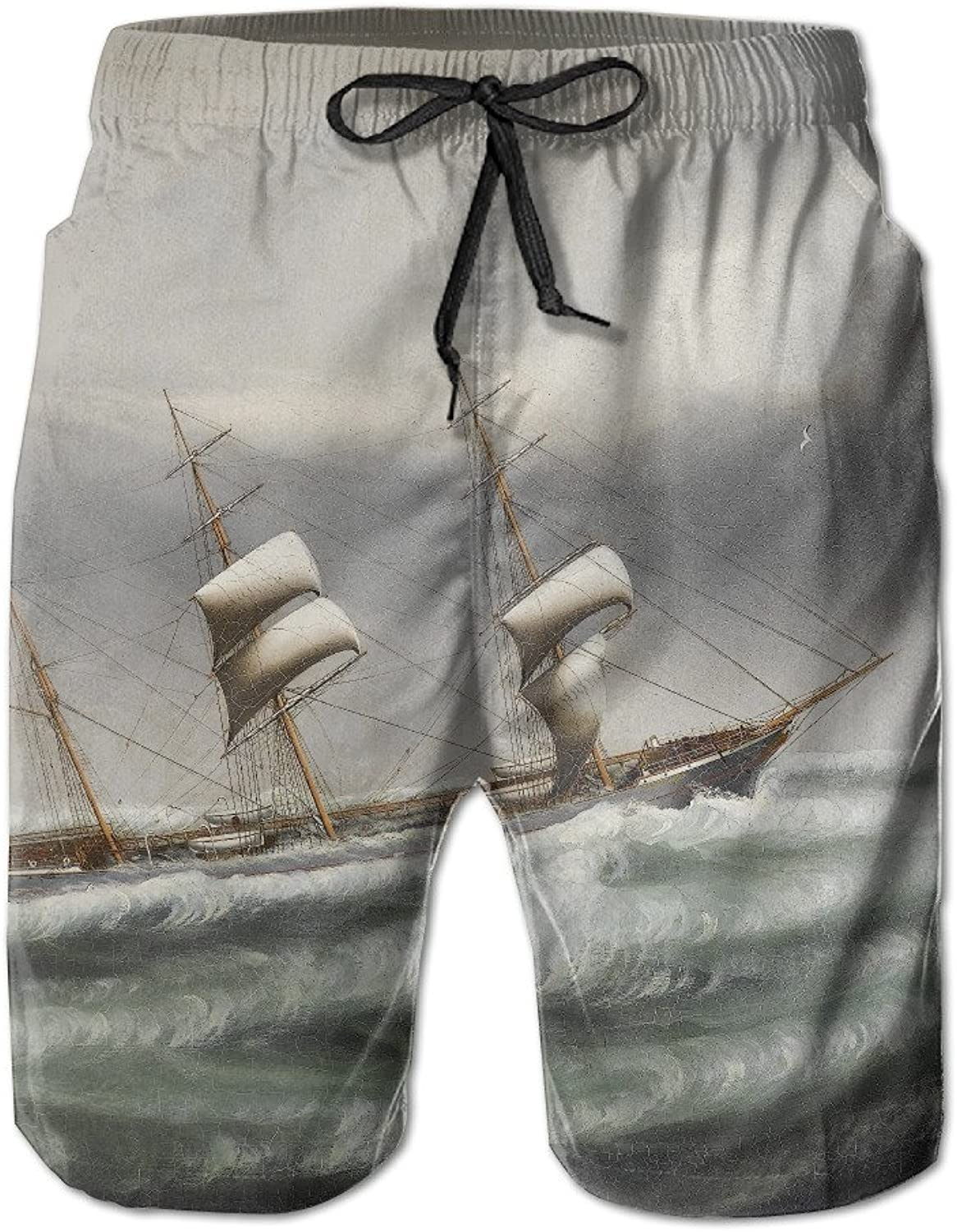 The Sailboat In Stormy Waters Summer Mens Quick-drying Surf Trunks Beach Shorts