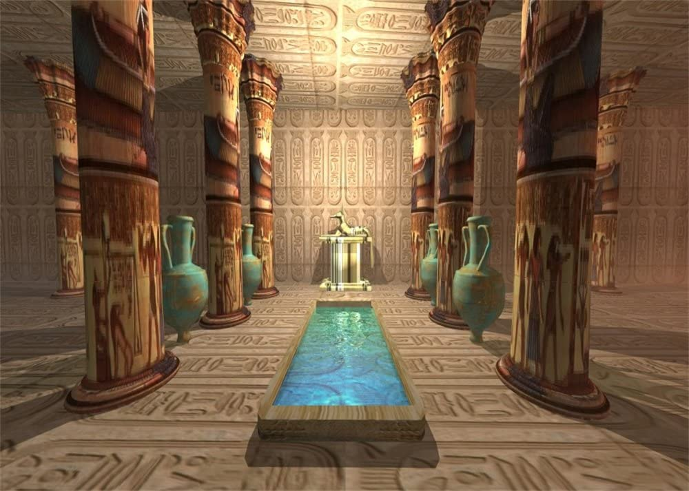 Leowefowa 12x8FT Ancient Egyptian Temple Backdrop Old Interior Tomb Backdrops for Photography Egypt Mural Painting Vinyl Photo Background Pharaoh Culture Studio Props