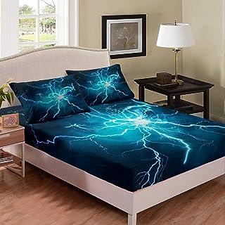 Erosebridal Lightning Fitted Sheet for Queen Mattress Natural Disaster Bedding Set for Kids Boys Girls Children Night View...
