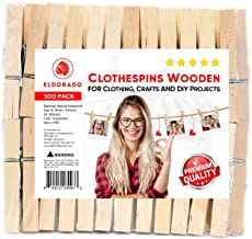 """Eldorado Clothespins, Natural Wood, 3"""" x 0.5"""" inches, Value Pack of 300 for Multipurpose Everyday Clothing, Laundry, Drying, Crafts, and DIY Projects, Size XL. (300)"""