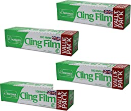 NITAAR 4 x Kitchen/Catering Cling Film 300mm Wide x 100m Long Food Wrap/Wrapping