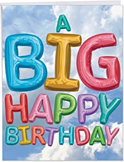 Happy Birthday Card 'Inflated Messages Birthday' with Envelope 8.5 x 11 Inch - A Big Happy Birthday Balloons Floating in The Blue and White Cloud Sky - HBD Greeting Cards J5651EBDG