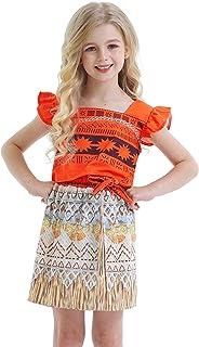 ملابس موانا من AmzBarley للفتيات تلبيس الأطفال الصغار ملابس تنكرية مجموعات تنورة للأطفال الصغار