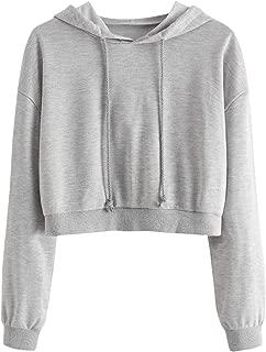SweatyRocks Women's Sweatshirts Letter Print Plaid Long Sleeve Crop Top Hoodies Sweatshirt Pullover