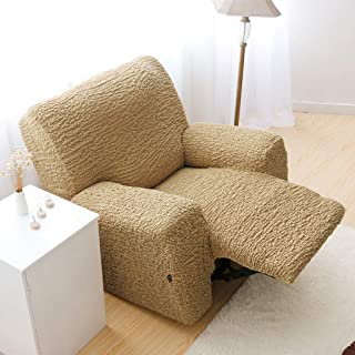 Stretch Recliner Slipcover, High Elastic Sofa Cover Jacquard Sofa Slipcover for Reclining Sofa Furniture Protector for 1 2 3 Cushion Couch -Gold-Loveseat 150-200cm