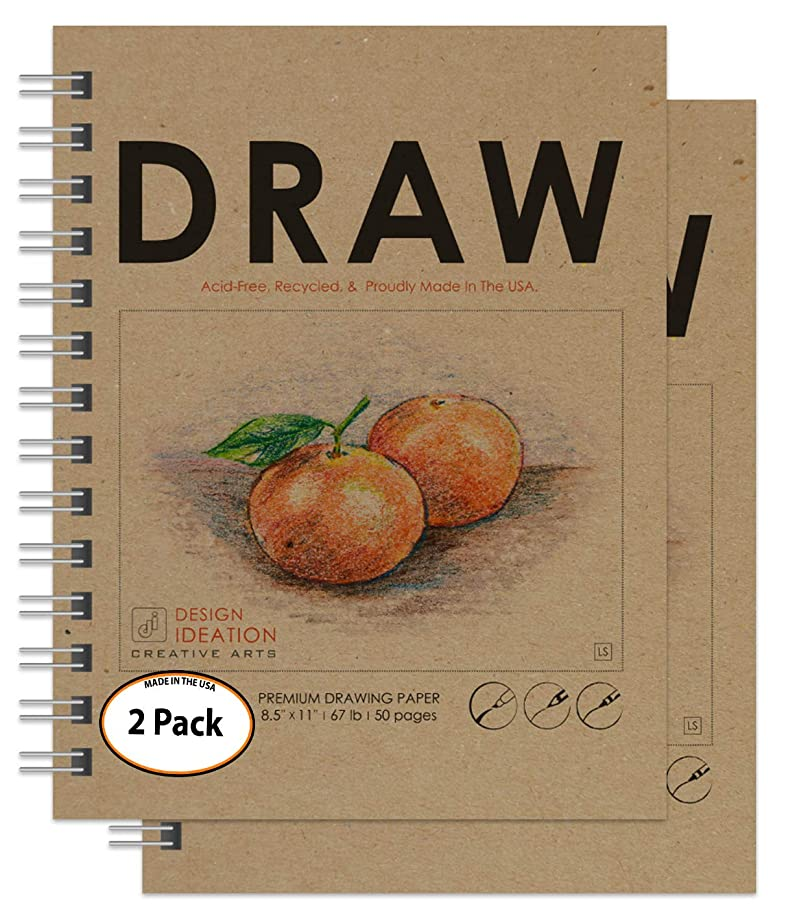 DRAWING : Premium Paper Drawing Book for Pencil, Ink, Marker, Charcoal and Watercolor Paints. Great for Art, Design and Education. Made in the USA. 8.5