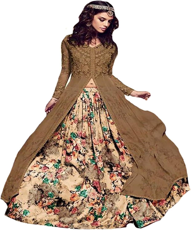 Bollywood Collection Long Choli With Skirt Anarkali Ceremony Wedding Bridal 8769
