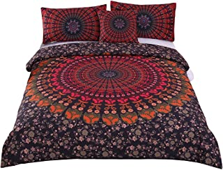Sleepwish 4 Pcs Mandala Hippie Concealed Bedspread Bohemian Bedding Duvet Cover Set Queen Size