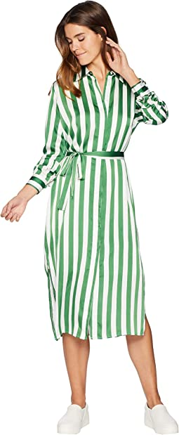 Awning Stripe Satin Dress