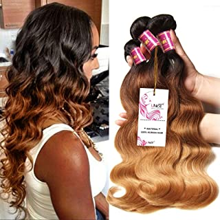 UNice Hair 8a Grade Ombre Body Wave Hair 3 Bundles, Brazilian Remy Hair Body Wave Weave, 100% Human Hair Extensions 3 Tone 1b 4 27 Color 100g/pc (16 18 20)